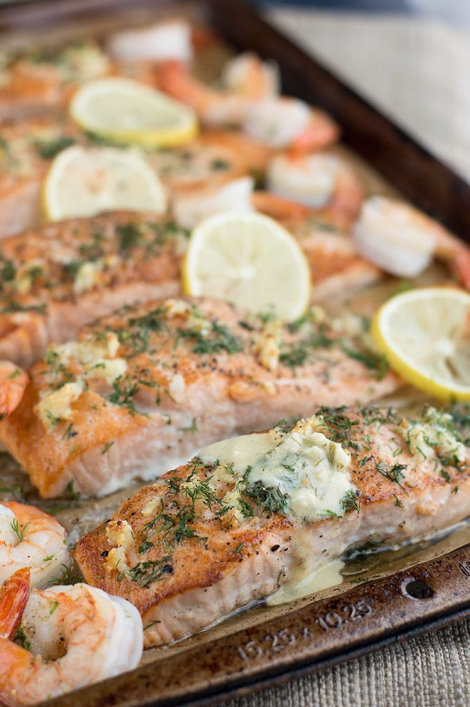 This recipe for Seared Salmon and Shrimp with Creamy Dijon Dill Sauce ...