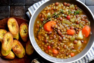 Lentil and Pigeon Pea Soup with Broiled Plantains image
