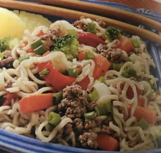 Asian beef and noodles image