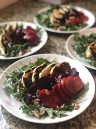 Beet, Halloumi and Walnut Salad image