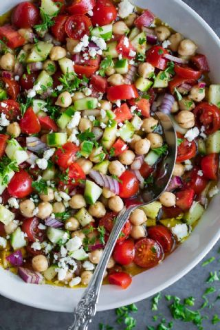 Marinated Chickpea Salad with Tomatoes and Cucumber image