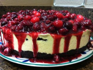 Frozen Grand Marnier Torte with Dark Chocolate Crust and Spice Cranberries image