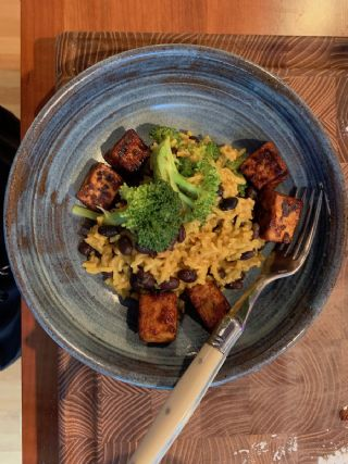 Yellow Rice & Black Beans with Broccoli image