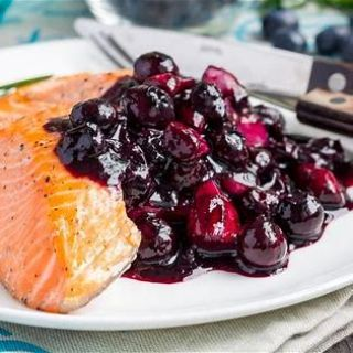 Baked Salmon with Blueberry Sauce image