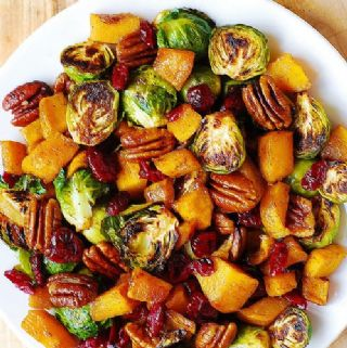 Roasted Brussels sprouts, Pepitas, and Cranberries image