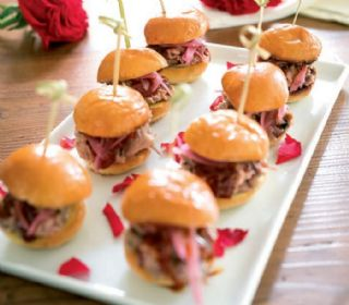 Pulled Pork Sliders with Bourbon BBQ Sauce and Pickled Red Onions (Reese Witherspoon) image