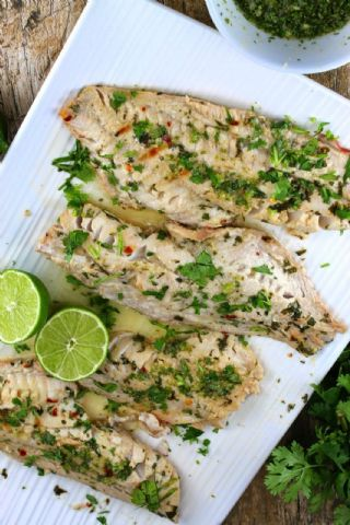 Grilled Red Snapper with Cilantro, Garlic and Lime image