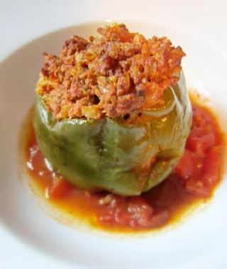 Old fashion stuffed green peppers image
