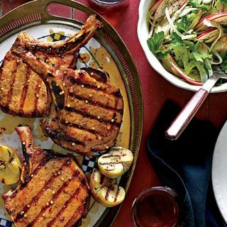 Grilled Pork Chops with Apple-Bourbon Glaze image