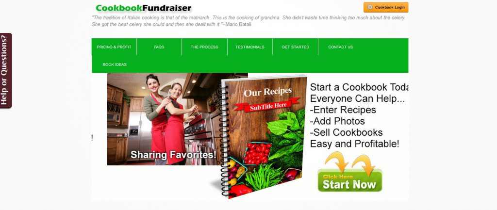Cookbook Fundraiser Homepage
